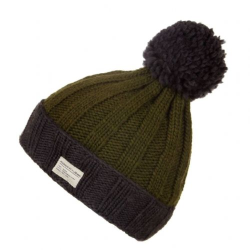 Moss Yarn Ribbed Bobble Hat with Turn Up - Kusan - Green/Grey